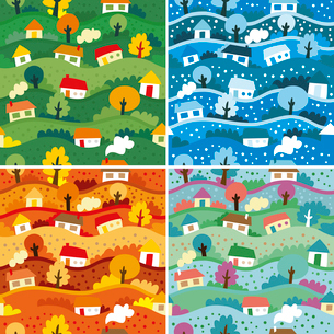 Seamless patterns with 4 seasonsのイラスト素材 [FYI03082808]