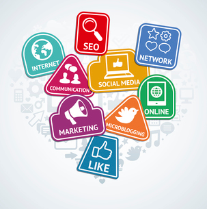Vector stickers with social media and internet  marketing icons - web conceptのイラスト素材 [FYI03082814]