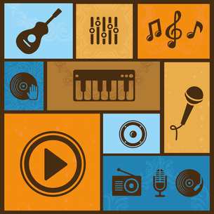Vector design element with musical icons and signsのイラスト素材 [FYI03082846]