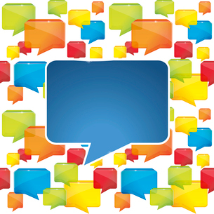 social media background with speech bubblesのイラスト素材 [FYI03082852]