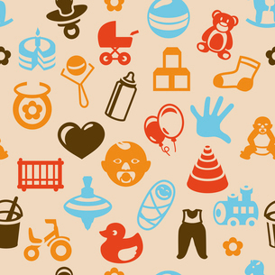 Vector seamless pattern with bright kid icons - abstract background for childrenのイラスト素材 [FYI03082856]