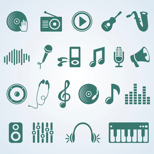 Vector set of music iconsのイラスト素材 [FYI03082877]