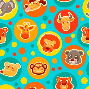 Funny seamless pattern with cartoon animal heads - vector illustrationのイラスト素材 [FYI03082882]