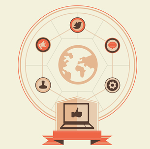 Vector concept of social media and marketing - vintage illustrationのイラスト素材 [FYI03082885]