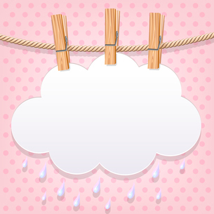 White paper cloud on a clotheslineのイラスト素材 [FYI03083158]