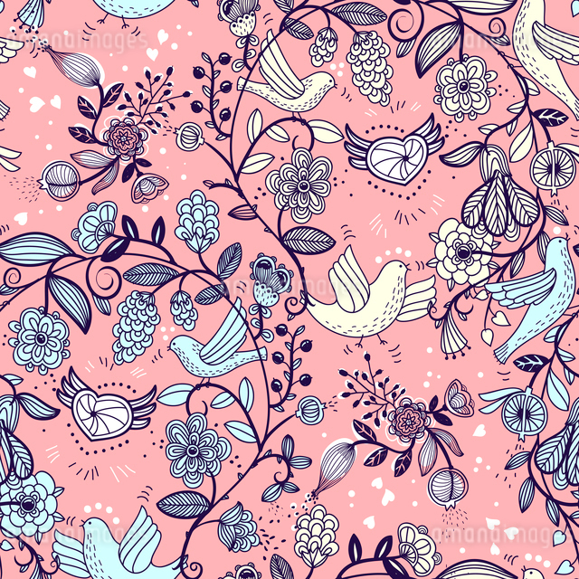 vector  seamless pattern with floral garlands and flying birdsのイラスト素材 [FYI03083253]