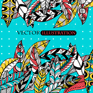 vector background with abstract colorful feathersのイラスト素材 [FYI03083289]