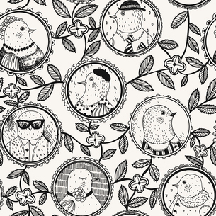 vector seamless pattern with funny portraits of different birdsのイラスト素材 [FYI03083315]