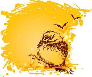 Vector grunge Halloween background with owlのイラスト素材 [FYI03083348]