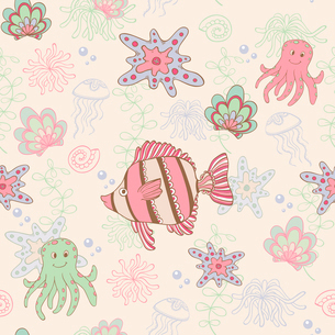Vector seamless pattern with fish and octopusのイラスト素材 [FYI03083354]