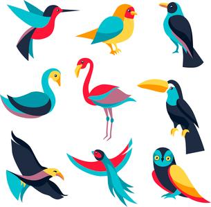 Vector set of logo design elements - birds signsのイラスト素材 [FYI03083388]