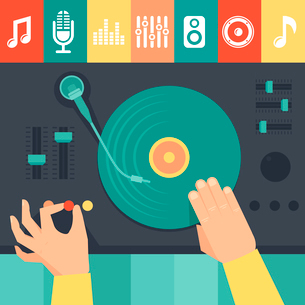 Vector turntable and dj hands - music conceptのイラスト素材 [FYI03083413]