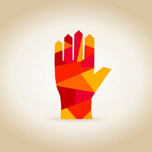Abstract red hand. A vector illustrationのイラスト素材 [FYI03083488]