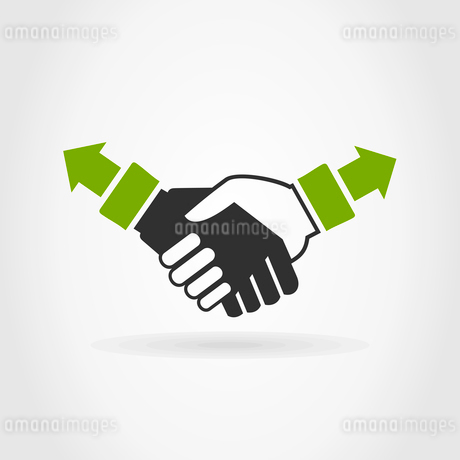 Hand shake on a grey background. A vector illustrationのイラスト素材 [FYI03083494]