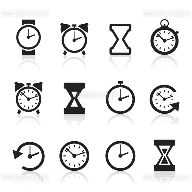 Set of icons hours. A vector illustrationのイラスト素材 [FYI03083504]
