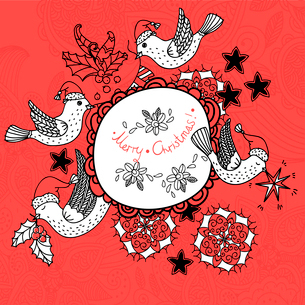 Christmas vector frame with flying birds and Christmas decorationsのイラスト素材 [FYI03083564]