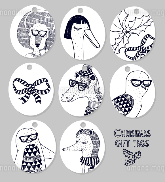 Vector set of Christmas gift tags with funny animalsのイラスト素材 [FYI03083566]