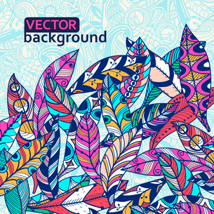 vector floral illustration of  colored abstract feathersのイラスト素材 [FYI03083591]