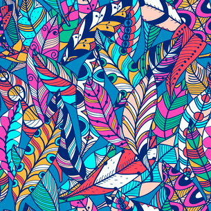 vector seamless pattern with colored abstract feathersのイラスト素材 [FYI03083595]