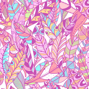 vector seamless pattern with abstract birds feathersのイラスト素材 [FYI03083618]