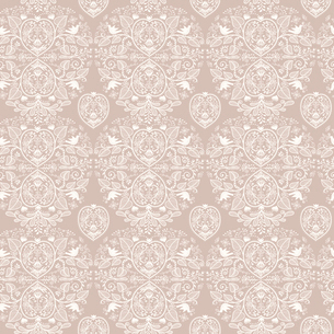 vector  seamless pattern with floral hearts on a beige backgroundのイラスト素材 [FYI03083660]