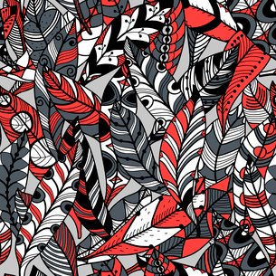 vector seamless pattern with abstract colorful feathersのイラスト素材 [FYI03083745]