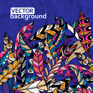 abstract vector background with colorful feathersのイラスト素材 [FYI03083776]