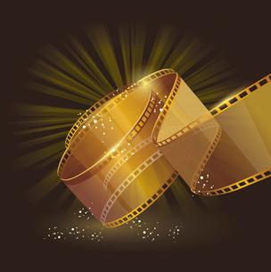 3d gold film reel , vector label signのイラスト素材 [FYI03083862]