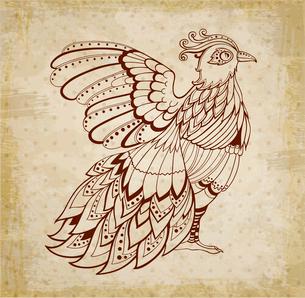 Decorative vector grunge ethnic background with birdのイラスト素材 [FYI03083947]