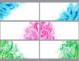 Bright decorative abstract horizontal vector cardsのイラスト素材 [FYI03083966]