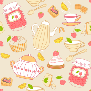 Vintage vector seamless pattern with tea and fruitsのイラスト素材 [FYI03083975]