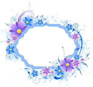 Decorative  vector background with blue and violet flowersのイラスト素材 [FYI03083989]