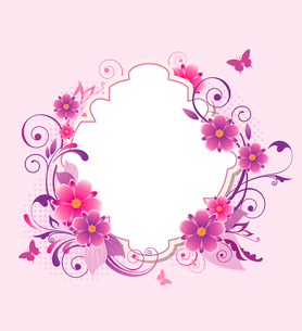Decorative vector background with pink and violet flowersのイラスト素材 [FYI03083991]