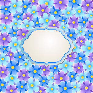Decorative  vector background with blue and violet flowersのイラスト素材 [FYI03084001]