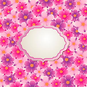 Decorative  vector background with pink and violet flowersのイラスト素材 [FYI03084003]