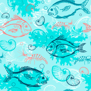 Vector blue marine seamless pattern with tropical fishesのイラスト素材 [FYI03084029]