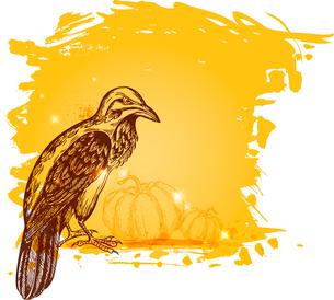 Vector grunge Halloween background with ravenのイラスト素材 [FYI03084075]