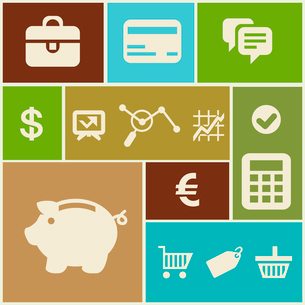 Vector business and finance icons and signs in flat styleのイラスト素材 [FYI03084116]
