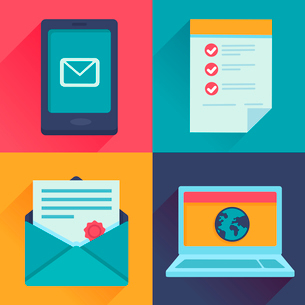 Vector communication icons in flat retro style - mail, message, contract, website adressのイラスト素材 [FYI03084121]