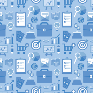 Vector seamless pattern in flat style with business and finance icons and signs in blue color - forのイラスト素材 [FYI03084135]
