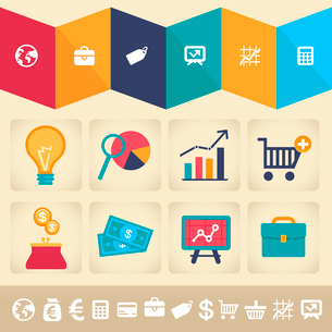 Vector icons and infographic design element in flat retro style - finance and business illustrationのイラスト素材 [FYI03084151]