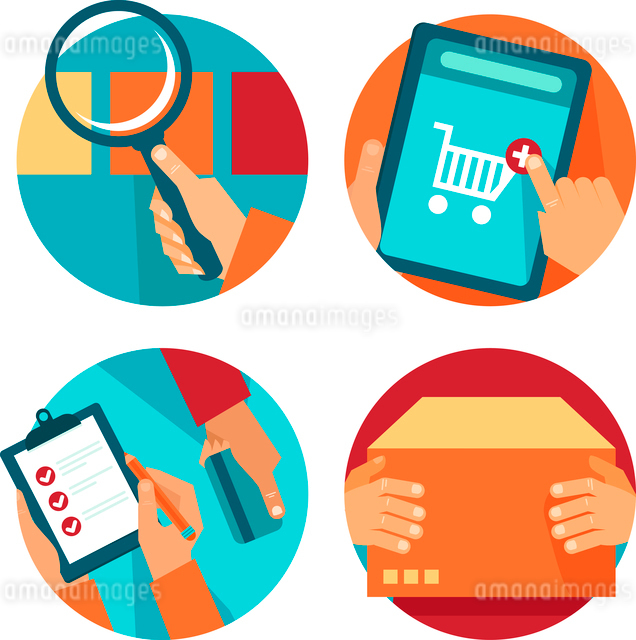 Vector internet shopping icons in flat style - search, order, pay, deliverのイラスト素材 [FYI03084154]