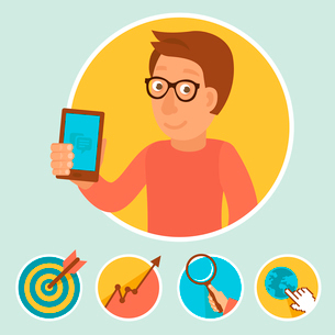 Vector illustration in flat style - manager and marketing iconsのイラスト素材 [FYI03084155]