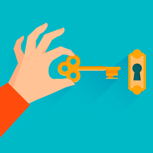 Vector real estate concept - hand holding golden key in flat styleのイラスト素材 [FYI03084157]