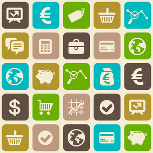 Vector seamless pattern with finance and business icons in flat styleのイラスト素材 [FYI03084165]