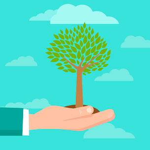 Vector business concept - illustration in flat style with hand holding treeのイラスト素材 [FYI03084177]