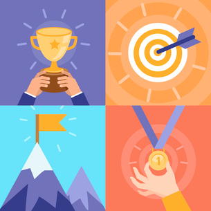 Vector success concepts - bowl, goal, medal, summit - icons and illustrations in flat styleのイラスト素材 [FYI03084178]