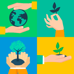 Vector set of ecology concepts - hands holding sprouts in flat retro styleのイラスト素材 [FYI03084179]