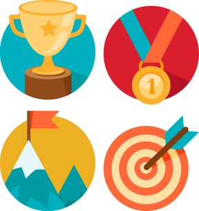 Vector success concepts - bowl, goal, medal, summit - icons and illustrations in flat styleのイラスト素材 [FYI03084182]
