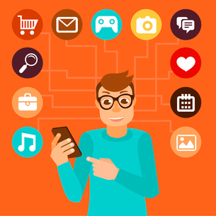 Vector man wearing glasses in flat style - social media addiction conceptのイラスト素材 [FYI03084189]